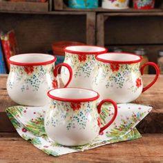The Pioneer Woman Holiday Cheer 28 oz Jumbo Belly Mug, Set of 4 - Walmart.com