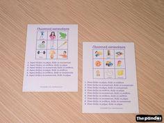 Καρτέλες Γλωσσικής Κατανόησης Bullet Journal, School, Pandas