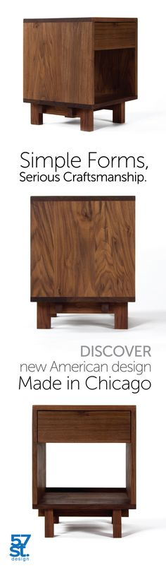 A minimalist side table in solid, American walnut with a hand-rubbed, natural oil and wax finish. With one drawer and an open space underneath for additional storage. Simple + beautiful. Perfect as a bedside table or nightstand. The Ada Side Table from 57st. design.