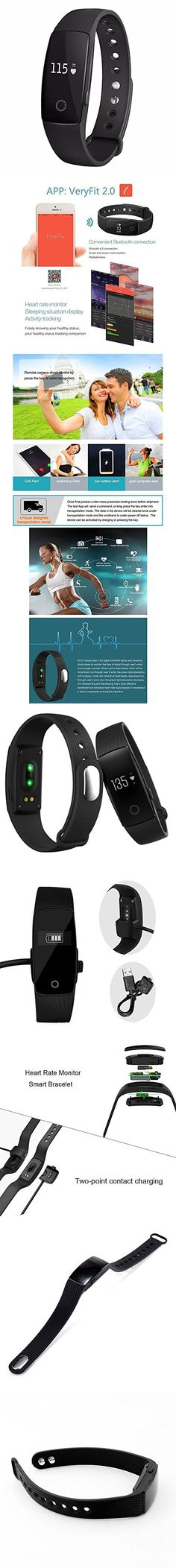 Witmood Smart Bracelet Heart Rate Monitor Smartband Pedometer Sport Fitness Tracker Wristband Watch For iPhone Samsung IOS Android Smart Phones (Black)