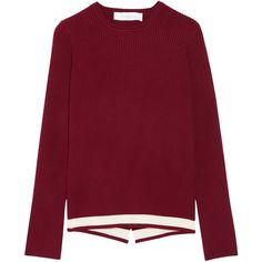 Victoria, Victoria Beckham Wrap-effect ribbed stretch-knit sweater (685 NZD) ❤ liked on Polyvore featuring tops, sweaters, stripe sweaters, stretch top, striped top, banded waist tops and burgundy sweater