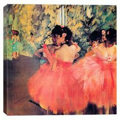 Print of Degas' Ballerina in Red on canvas.  Product: Canvas printConstruction Material: Cotton canvas and woodFeatures: Original art by Edgar Degas