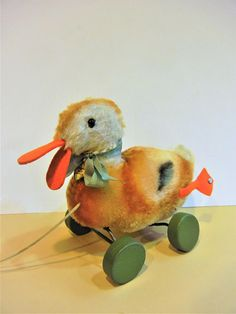 Sale-Steiff Vintage Antique Duck Pull Toy IDs Handmade 1949-64