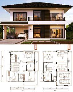 2 Storey House Design, Bungalow House Design, House Front Design, House Layout Plans, My House Plans, House Layouts, House Floor Plans, Modern Exterior House Designs, Dream House Exterior