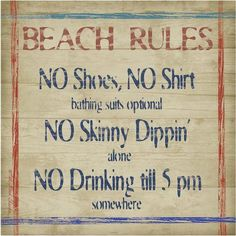 Thirstystone Occasions Drink Coasters, Set, Beach Rules, Multicolor