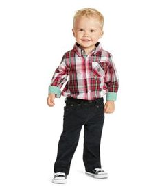 red plaid holiday onesie - Holiday colors on a plaid onesie make a handsome combination, especially for family photos. It features button-closure cuffs and a velvet inner collar for the comfort of young necks. Cotton. Machine wash.