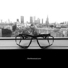 'I have the greatest #view in the world.' 'Yeah? What is it?' '#SlavNowosad's glasses.' #blackandwhite #seetheworld #worldview #window #city #capital #Warsaw #skyscrapers #high #tower #black #matte #glasses #eyeglasses #eyewear #lunettes #occhiali #brille #gafas #oculos #oчки #アイウェア #안경