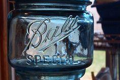 rare squat pint ball blue special vintage mason jar by sparkklejar, $35.00