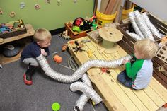 Air duct tubing is the best Loose Part Infant Toddler Classroom, Toddler Play, Baby Play, Infant Play, Reggio Emilia Preschool, Reggio Classroom, Infant Activities, Infant Sensory, Sensory Activities