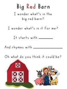 Big Red Barn Rhyming Activity