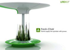 Fresh Chair An incredibly futuristic idea for a city bench! The fresh chair… Parks Furniture, Urban Furniture, Street Furniture, Indoor Farming, Ancient Greek City, Gnu Linux, Interior Design Sketches, Plant Lighting, Best Cleaning Products