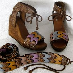 Platform Clog Shoe Leafy Print Link Rustic Wedge with by karenkell, $145.00