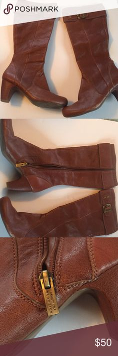 Kenneth Cole reaction boots Great condition brown leather high boots. Only worn a few times. Does have stretch at the top for a wider calves. Comes almost to the knee Kenneth Cole Reaction Shoes Over the Knee Boots