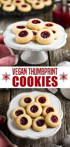 Vegan Thumbprint Cookies - The combination of tart jam and a buttery-sweet crumb is pure bliss in every bite. Vegan Thumbprint Cookies - The combination of tart jam and a buttery-sweet crumb is pure bliss in every bite. Yummy Recipes, Vegan Baking Recipes, Vegan Dessert Recipes, Best Vegan Desserts, Cooking Recipes, Healthy Vegan Snacks, Vegan Treats, Vegan Foods, Biscuit Vegan