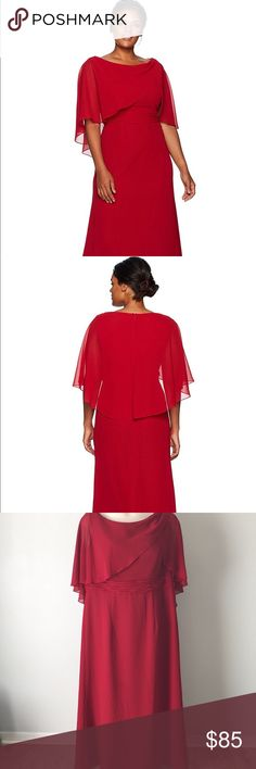 Lady in red formal gown Gorgeous full-length gown. Worn once for four hours. Lots of compliments received. ❤️❤️❤️ Very glamorous with coverage for the arms with the chiffon cape. Perfect for any event. True to size. Length from shoulder to hem is 55 1/2 inches. Cambridge Collection Dresses Prom