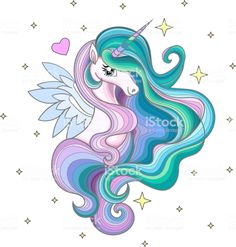 A beautiful rainbow unicorn with a long mane among the stars. royalty-free a beautiful rainbow unicorn with a long mane among the stars stock vector art & more images of hair Beautiful Rainbow, Pink Background, Fabric Wallpaper, Unicorn Painting, Unicorn Drawing, Pretty Art, Free Vector Art, Coloring Pages, Unicorn Pictures