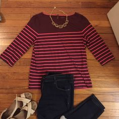 Maroon and pink striped 3/4 sleeve tee 3/4 sleeve striped tee with zipper detail in the back LOFT Tops Tees - Long Sleeve