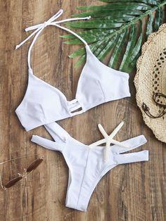 Online shopping for White Cutout Halter Sexy Bikini Set from a great selection of women's fashion clothing & more at MakeMeChic. Sexy Bikini, Cut Out Bikini, High Cut Bikini, Black Bikini, Bandeau Bikini, Bikini Tops, Bandeau Tops, Bikini Swimwear, Bikini Girls