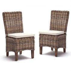 Moulin Set of 2 Kubu Rattan Dining Charis with Cushions Rattan Dining Chairs, Wicker, Cushions, Furniture, Home Decor, Throw Pillows, Cushion, Pillows, Interior Design