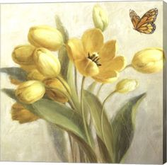 - Description - Why Accent Canvas? This exquisite Yellow French Tulips Floral Canvas Wall Art Print by Danhui Nai is created using quality fade resistant inks on a premium cotton canvas to ensure dura