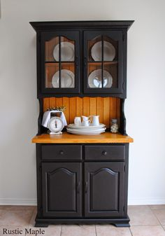 Black is one of my favourite colours for painted furniture. This past week I updated this solid oak buffet and hutch with Fusion Mineral Paint in Coal Black. I had been wanting to try Fusion Mineral Refurbished Furniture, Paint Furniture, Repurposed Furniture, Rustic Furniture, Furniture Design, Hutch Makeover, Furniture Makeover, Kitchen Hutch, Kitchen Decor