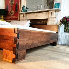 Demko's luxury Prince bed frame made of 100% American Black Walnut fitted with our revolutionary BackCare Bed-Systems and organic mattresses.