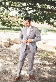 Grey suit, groom, leather suspenders, tan shoes, handsome, Tsillan Cellars, winery wedding, Seattle wedding photography by Jacquelynn Brynn Photography