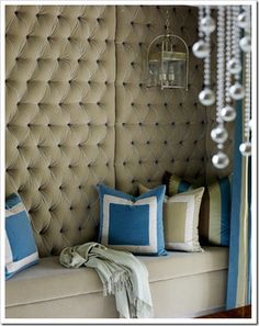 Perfect in a cozy nook under the stairs. At home inside or out. A banquette provides comfortable seating in a va. Diy Design, Interior Design, Design Ideas, Rooms Decoration, Upholstered Walls, Tufted Bench, Banquette Seating, Living Room Color Schemes, Cozy Nook