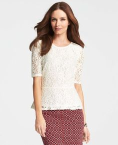 Symphony Lace Peplum Top in Winter White #AnnTaylor