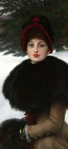'A Winter's Walk' 1879-80 by James Tissot (French, 1836-1902) Model was Kathleen Newton, his mistress who died in 1882, of tuberculosis ..