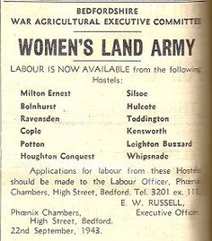 """Labour is Now Available."" Bedfordshire War Agricultural Executive Committee notice to farmers regarding the availability of Land Girls billeted at local hostels to assist with farmwork."