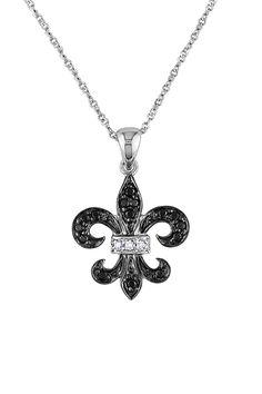 Back to Basics: Black & White Jewels  Black & White Diamond Fleur-de-Lis Pendant Necklace - 0.13 ctw  $285.00