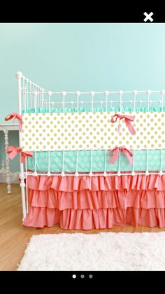 Coral Aqua and gold dot crib bedding (Picture only)