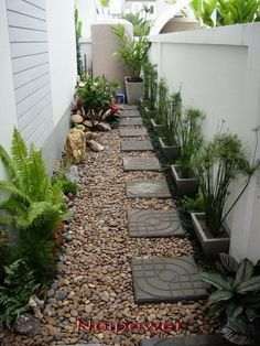 small stone garden for the sides of house, so,ething similar maybe