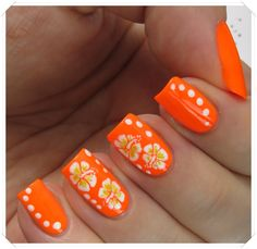 Hibiscus Flower Nail Art over Orly Melt Your Popsicle