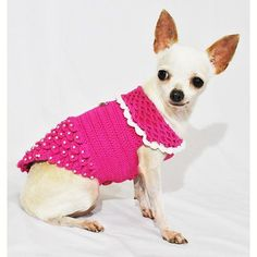 Princess Dog Dresses Pink Luxury Design with Pearls Apparel Handmade Crochet Chihuahua Clothes Pets Cats DF46 by Myknitt - Free Shipping