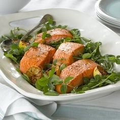 Pan-Seared Salmon with Pea Shoots and Watercress from The Food Channel and Williams-Sonoma Watercress Recipes, Salad Recipes, Healthy Recipes, Healthy Eats, Seared Salmon Recipes, Pan Seared Salmon, Fish Dishes, Seafood Dishes, Main Dishes