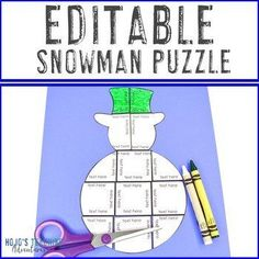 EDITABLE Snowman Template - Make your own Math or Literacy Puzzles! | 1st, 2nd, 3rd, 4th, 5th grade, Activities, English Language Arts, Fun Stuff, Games, Homeschool, Math, Middle School, Winter