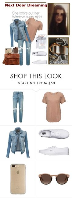 """""""Girl next door"""" by krystalkm-7 ❤ liked on Polyvore featuring Levi's, Frame, LE3NO, Vans and Speck"""