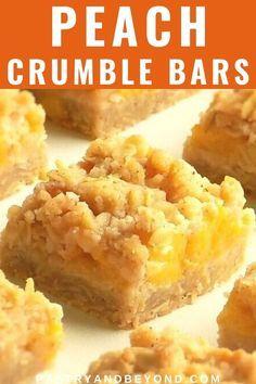 Peach Crumble Bars, Crumble Topping, Baking Recipes, Dessert Recipes, Bar Recipes, Cookbook Recipes, Baking Snacks, Fruit Recipes, Cake