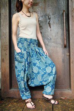 Blue cotton printed Harem pantsYoga pantswide leg by smileclothing, $29.00