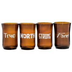 Artech glass studios repurposes beer bottles into awesome (and patriotic) glassware - all from right here in Ontario! We're excited to be carrying this local product in our gift shop. True North, Tumbler, Strong, Tableware, Beer Bottles, Glass, Ana White, Ontario, Repurposed