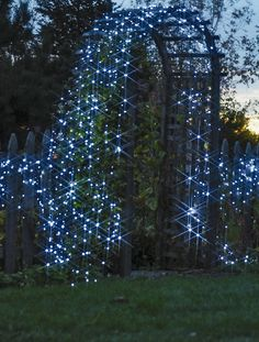 "A garden arbor shown with 5 sets of our solar-powered string lights. (arbor in ""Connie Garden"") Moon Garden, Dream Garden, Garden Art, Garden Design, Night Garden, Garden Pond, Garden Planters, My Secret Garden, Solar Lights"