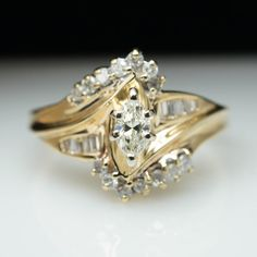 Vintage .40ct Marquise Cut Diamond Engagement Ring 14k Yellow Gold – Size 8 (Complete Bridal Wedding Set)