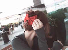 | korean hairstyles | ribbon | bun |
