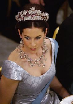The Danish Ruby Parure Tiara worn primarily by Crown Princess Mary of Denmark. This tiara was originally longer & taller (by a leaf or 2), however, in these pictures you can see that it was eventually shortened & the top leaf was removed.