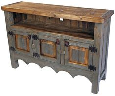 The unique rustic texture of this painted wood TV stand will enrich your southwest decor with an authentic Mexican hacienda theme. Mexican Furniture, Western Furniture, Rustic Furniture, Antique Furniture, Modern Furniture, Outdoor Furniture, Furniture Design, Primitive Furniture, Luxury Furniture