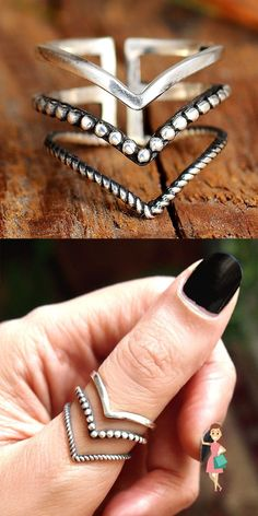 Chevron Ring, Jennifer Lopez, Bohemian Jewelry, Beach Jewelry, Boho Gypsy, Boho Hippie, Bohemian Style, Triangle Ring, Thumb Rings