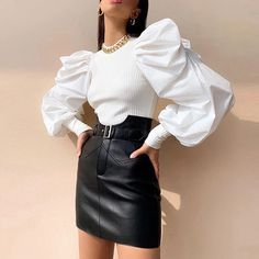 Solid Mock Neck Puff Sleeve Ribbed Blouse Women's Online Shopping Offering Huge Discounts on Dresses, Lingerie , Jumpsuits , Swimwear, Tops and More. High Street Fashion, Party Tops, Fashion Outfits, Womens Fashion, Sara Fashion, Fitted Bodice, Shirt Blouses, Blouses For Women, Street Wear