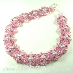 Pink and pearls bracelet tutorial Beaded Braclets, Beaded Jewelry, Bracelets, Diy Schmuck, Schmuck Design, Jewelry Patterns, Bracelet Patterns, Homemade Jewelry, Bracelet Tutorial